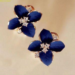 NEW 💎🌺 Crystal Blue Flower Stud Earrings
